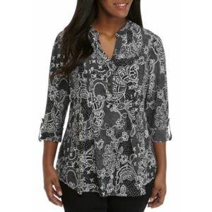 New Directions Women's Blouse Black Plus Sze 2X 3X